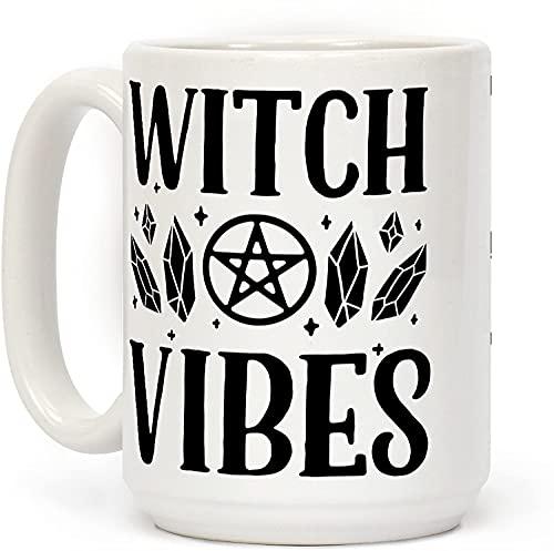Witch Vibes - Taza de café de cerámica personalizada de 15 onzas para viajes, oficina, hogar