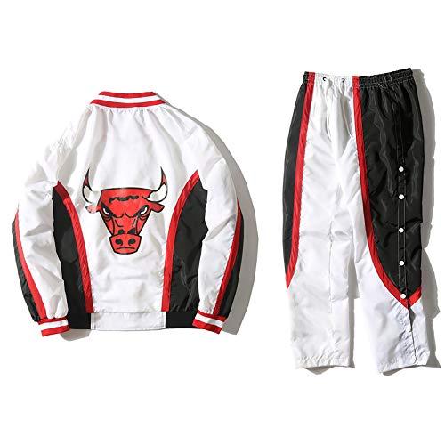 Retro Bulls Basketball Jacke Kit, Anzug 1992-1993 Frühling Herbst Langarm-lose Windbreaker Sport Jersey Coat White-L
