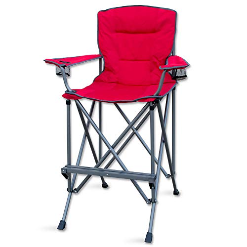 RMS Outdoors Extra Tall Folding Chair - Bar Height Director Chair for Camping, Home Patio and Sports - Portable and Collapsible with Footrest and Carrying Bag - Up to 300 lbs Weight Capacity (Red)