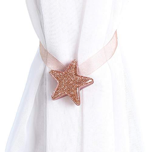 Danigrefinb Star Shape finestra tenda fibbia magnetica Tieback Holder camera da letto Home Decor, magnete, rosa, large