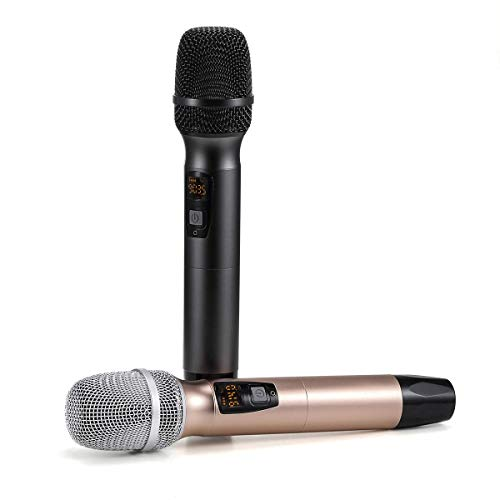 Wireless Microphone, Karaoke Mic, FDUCE UHF Dual Handheld Dynamic System with Rechargeable Receiver for Party, Church, Meeting, Wedding (260ft Range)