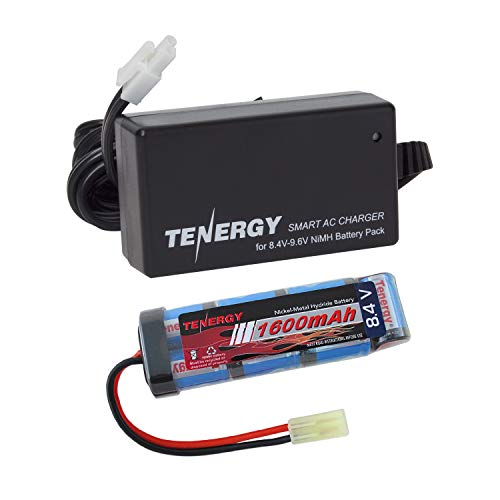 Tenergy Airsoft Battery 8.4V 1600mAh NiMH Flat Battery Pack w/Mini Tamiya Connector for Airsoft Gun + 8.4V-9.6V NiMH Battery Charger w/Mini Tamiya Connector and Standard Tamiya Adaptor