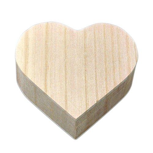 Joyero de madera en forma de corazón, regalo de bodas, para