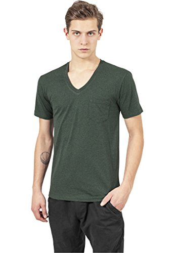 Urban Classics Melange V-Neck Pocket T-Shirt, Mehrfarbig (Forestgreen/Blk 00441), L Homme