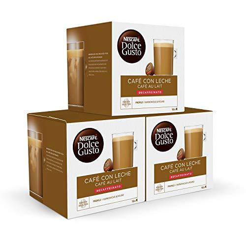 Nescafe Dolce Gusto Cafe con leche descafeinado, Pack de 3 x 16 Capsulas - Total: 48 Capsulas de Cafe