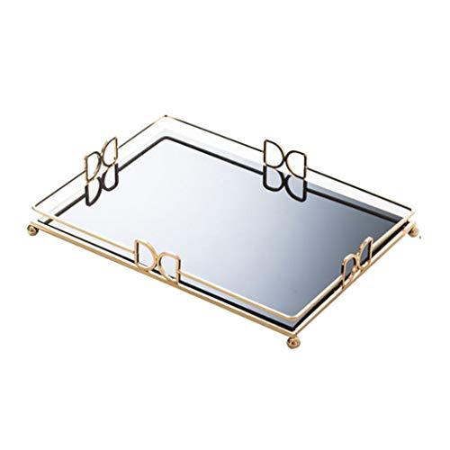 Bandeja Antideslizante de Baño Bandeja Bandeja Bandeja espejo de vanidad bandeja de joyas de perfume Bandeja Bandeja Dresser baño decorativo plato de cristal del metal del maquillaje Bandeja para bañe