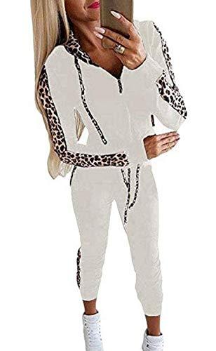 Sfit Damen Leopard Trainingsanzug Mode Langarm Kapuzenpullover Sweatshirt mit Jogginghose Casual Jogginganzug Sportanzug Bekleidungsset 2 Stück Set Hoodie