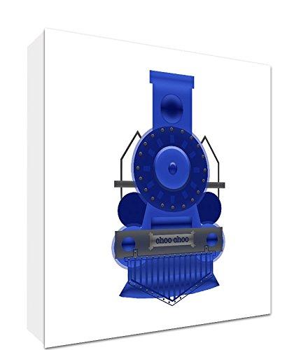 Feel Good Art Toile sur Cadre Art Mural de Style Moderne/Illustratif Train d'Époque Bleu/Blanc 25 x 25 x 4 cm Petit