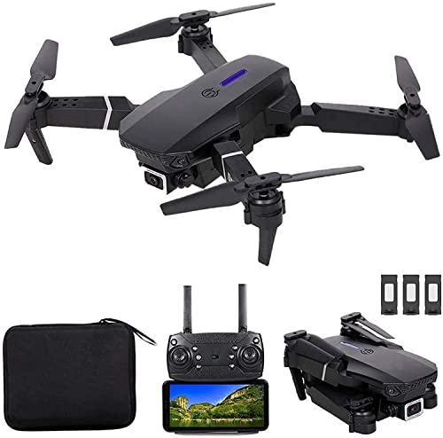 WASHULI Drone con 4K HD. Fotocamera WiFi Video Live, Pieghevole Rc. Qucopter con modalità Senza Testa altitudine Tenere Traccia 3D FILP, 2 Batterie