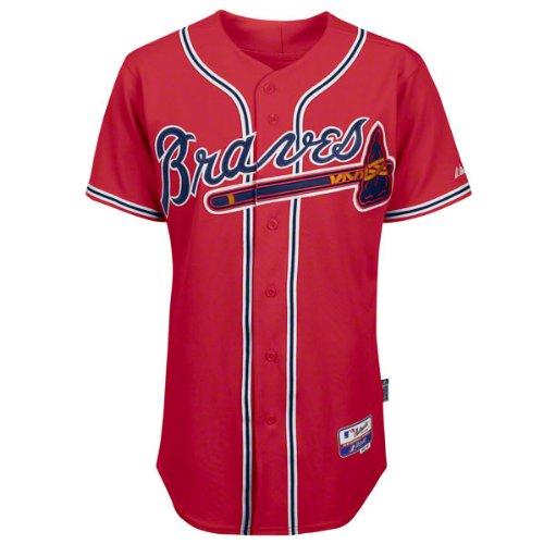 MLB Atlanta Braves Herren Trikot mit sechs Knöpfen Cool Base Authentic Alternate, Herren, scharlachrot, 48/X-Large