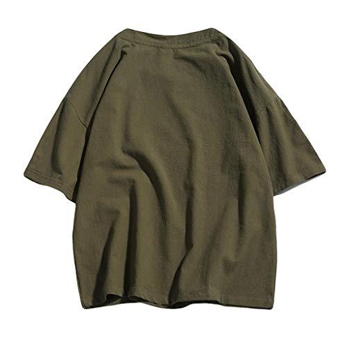 Herren Sommer Casual Pure Color Kurzarm Baumwolle und Hanf T-Shirt Tops Zolimx