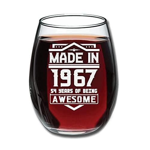 Lind88 Copas de vino tinto sin tallo hechas en 1967 grabado premium - Novedad para hombre blanco 350 ml