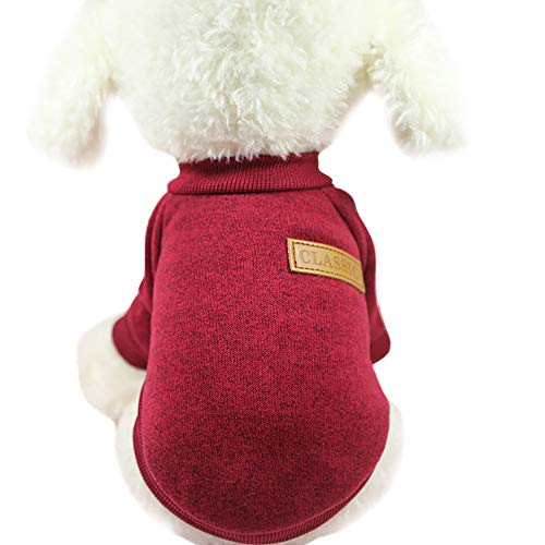 Classic Stricken Sweatshirt für Kleine Hunde Katze, L Rot 518651 (hundepullover kleine hunde winter...