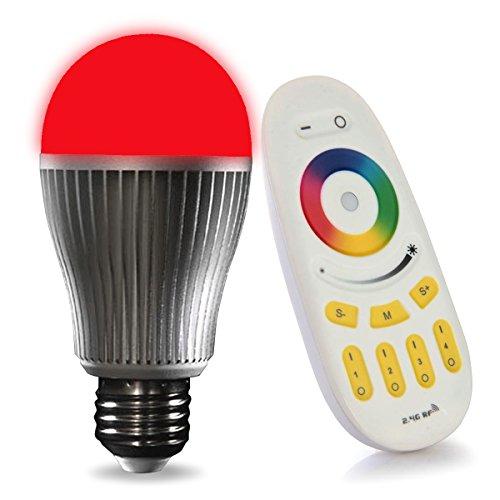 LIGHTEU, 1 x WiFi Lampe LED RGB Milight Original ®, 9W, E27, Blanc Chaud à Intensité Variable avec Télécommande [Classe énergétique A+]