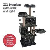 JAMAXX Premium Katzen Kratzbaum XXL H165cm, Extra-Stabil 9 Dicke Stämme, Starke Bodenplatte 3cm, Super Weiches Plüsch, PCT6006 dunkel-grau
