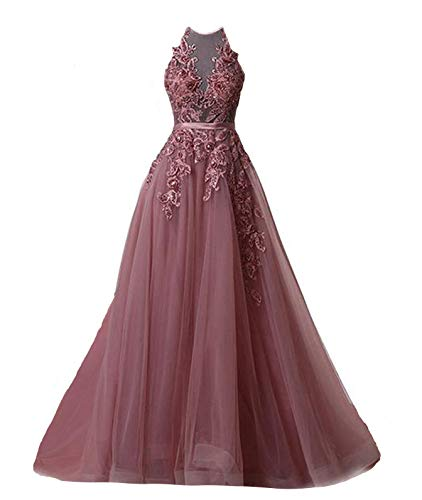 Fanciest Women's Halter Prom Dresses Long 2019 Appliques Backless Evening Formal Dress Plum US12