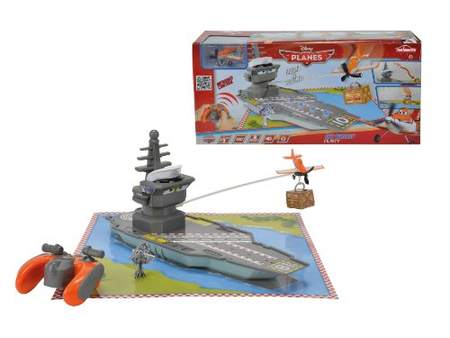 Majorette - 213089802 - Vehicule Miniature - Planes - Avion RadioCommande - Whirly Dusty - Porte avion 30 par 20 cm