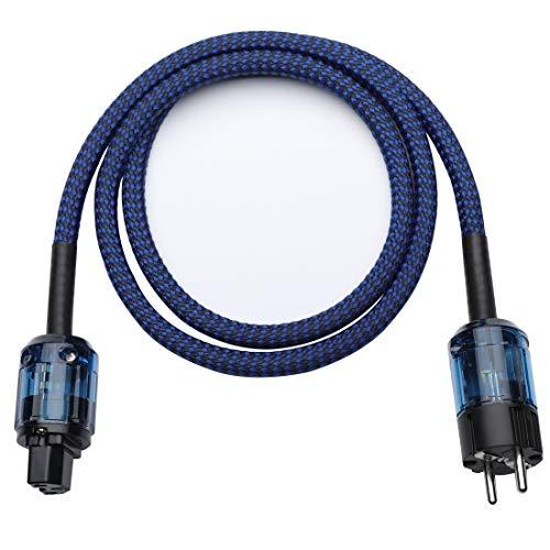 Cable de alimentación HiFi, trenzado de cobre sin oxígeno, cable de alimentación CA, cable de alimentación, enchufe europeo, 1 metro azul (1 M-azul)
