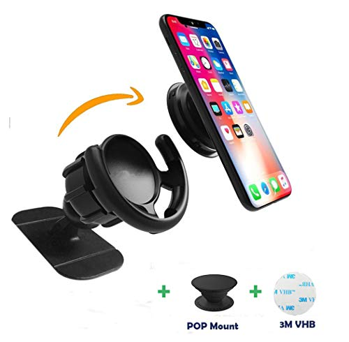 Pop Clip Car Mount,360° Rotation Dashboard Sticker Holder for GPS Navigation Compatible with All Smartphones