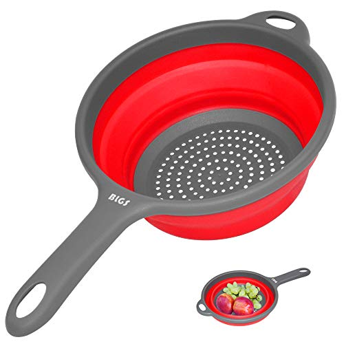 Colander Collapsible Colanders and Strainers with Handles SpaceSaver Silicone Strainer Colander 2 Quart Round kitchen Collander for Draining PastaVegetables and Fruits Dishwasher Safe Red