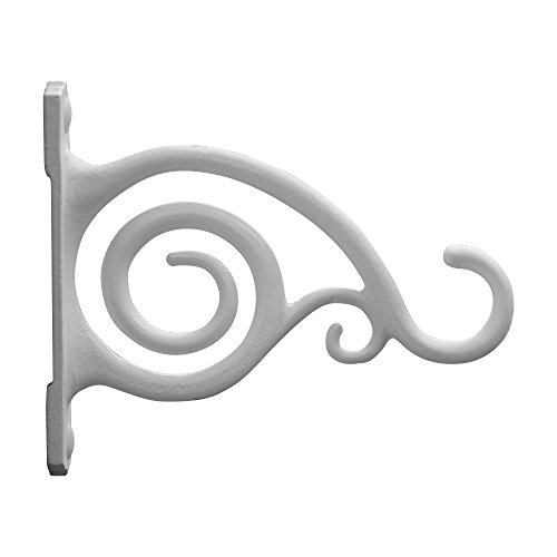 Gray Bunny GB-6837A Fancy Curved Hook, White, Cast Iron Wall Hooks for Bird Feeders, Planters, Lanterns, Wind Chimes, As Wall Brackets and More!