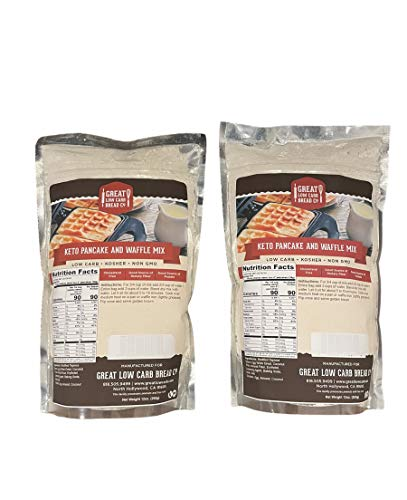 Great Low Carb Keto Pancake and Waffle Mix 9oz Pack of 2 by GLCB Co, Gluten Free and Keto 1g net carbs per serving, Kosher, Non-GMO, Dietary Fiber and Protein Source