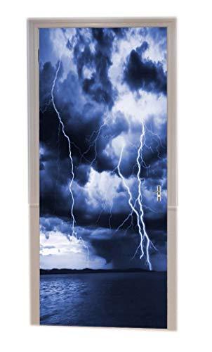 A.Monamour Pegatinas De Pared Cielo Nublado Azul Océano Lluvia Tormenta Nubes Relámpago Tormenta Naturaleza Paisaje Impresión Vinilo Puerta Calcomanías Papel Pintado Murales De Pared Puerta