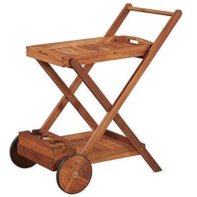 Tidyard Outdoor Wood Serving Cart Indoor Garden Kitchen Trolley Storage Cart by Tidyard