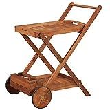Festnight- Holz Teewagen Servierwagen aus Akazienholz | Küchenwagen mit 2 Tablett | Kleiner BBQ Barbecue Trolley