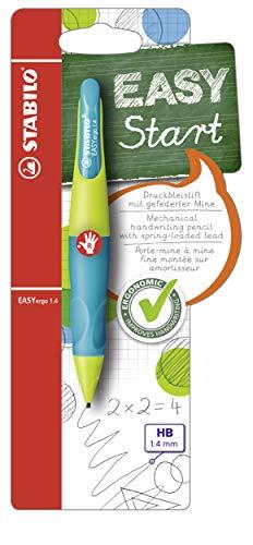 Ergonomischer Druck-Bleistift für Rechtshänder - STABILO EASYergo 1.4 in neonlimonengrün/aquamarin - inklusive 3 dünner Minen - Härtegrad HB