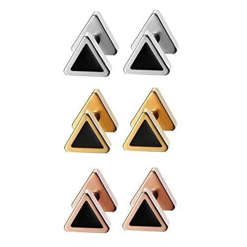 6 Paare Hantel Ohrstecker Herren Ohrringe Set Männer Cupimatch Ohr Schmuck Edelstahl Triangle 6mm 8mm für Man Jungen, Silber Gold Rosegold