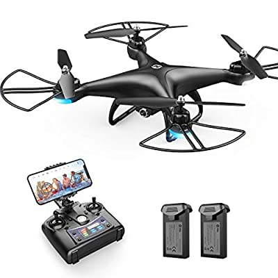 Holy Stone HS110D FPV RC Drone with 1080P HD Camera Live Video 120° Wide-Angle WiFi Quadcopter with Altitude Hold Headless Mode 3D Flips RTF with 2 Modular Battery, Color Black