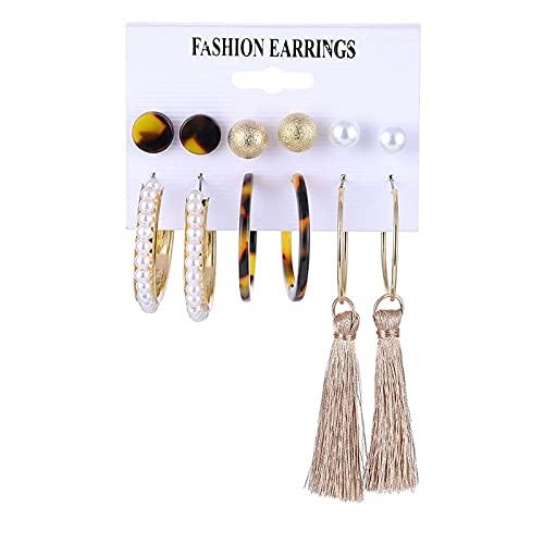 FEARRIN Pendientes Vintage Pendientes Brincos Antiguos Conjunto Pendientes de Perlas de Concha para Mujer Pendientes de aro con borlas de Leopardo Joyería Kolczyki Femenina LNI0807-7