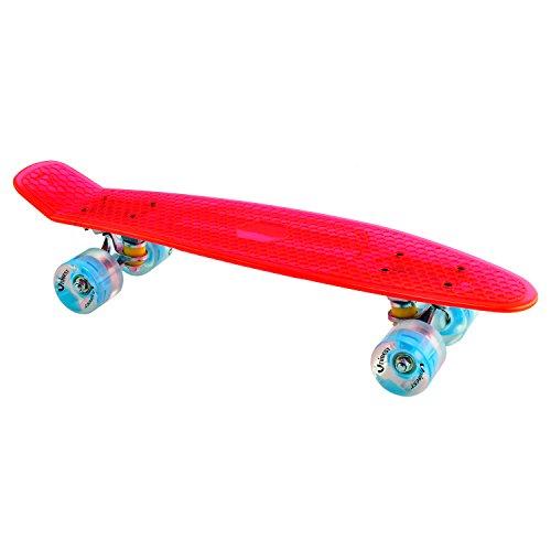 Unibest Skateboard Mini Cruiser Rollbrett Retro-Board transparent 57x15cm mit LED Leuchtrollen - rot