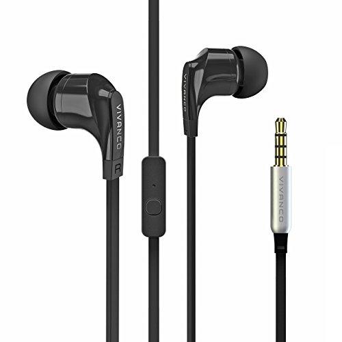 Vivanco Talk In-Ear Stereo Headset mit Mikrofon, Kopfhörer, Ohrhörer für Smartphone, Handy, MP3-Player, mit Fernbedienung und 3,5 mm Klinkenstecker schwarz