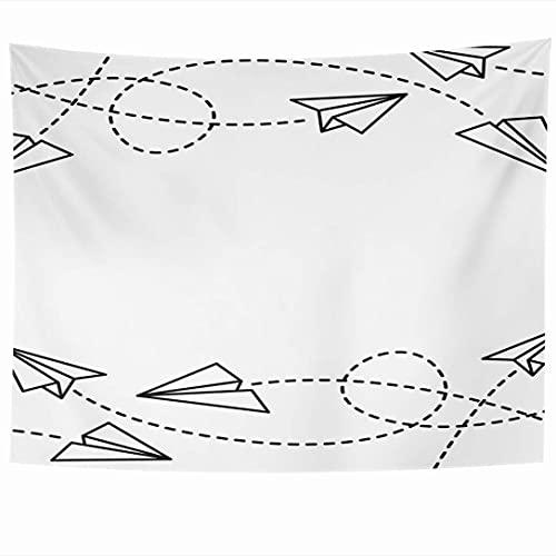 Tapices para colgar en la pared Origami Travel Fly Fun Avión Aviones de papel Simbólico Diseño de texturas blancas Objetos de contorno fino Tapiz Manta de pared Decoración del hogar Sala de estar Dorm