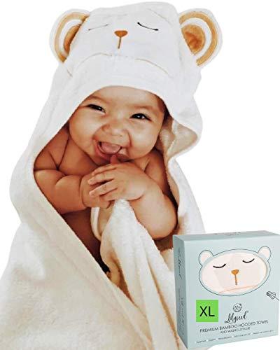 Bamboo Baby Towel - Ultra Soft Organic Baby Bath Towel Set for Newborn, Babies & Toddlers - Cute Bear Baby Hooded Towel for Baby Girl, Boys - Organic Baby Towel & Washcloth- Toddler Towel-Lilyseed