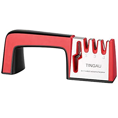 TINGAU Kitchen Knife Sharpener - 4 in 1 Knife & Scissors Manual Sharpener, No1 Choice Chef Knife Sharpening Tool Helps Repair and Restore Knives, Quick & Easy to Use - Cut Resistant Gloves Included