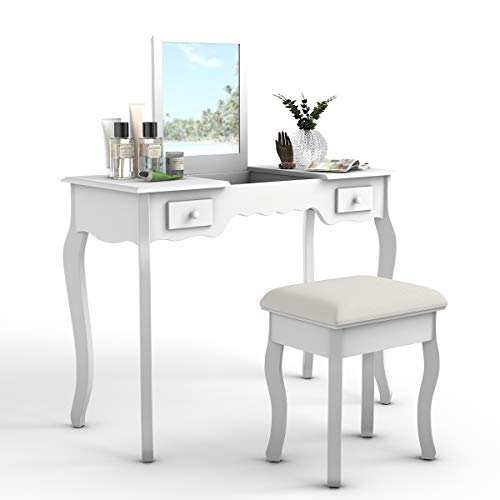 Giantex Vanity Set with Flip Top Mirror and Cushioned Stool, Makeup Dressing Table with Removable Jewelry Organizers and 2 Drawers, Modern Makeup Table Writing Desk for Girls Women Bedroom, White