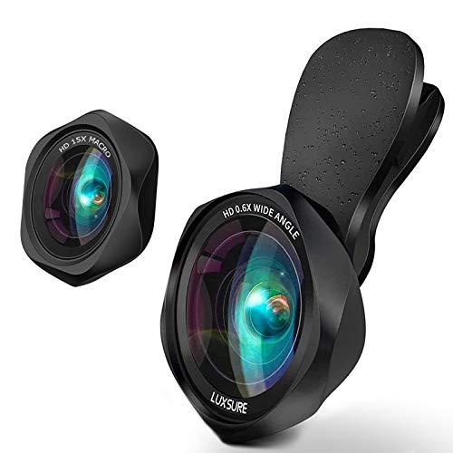 スマホ用カメラレンズ クリップ式レンズ 広角レンズ マクロレンズ 自撮りレンズ - iPhone Android タブレットなど対応 高画質 簡単装着 歪みなし 携帯レンズ 自撮りレンズ 交換レンズ可 スマホ レンズ ローズ型2in1 ブラック
