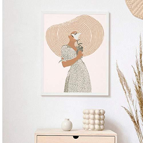 Terilizi Boho wanddecoratie boven bed kunst terracotta minimalistische tekening kunst schilderij abstracte vrouw portret poster canvasdruk wooncultuur -40X60cm niet-ingelijst