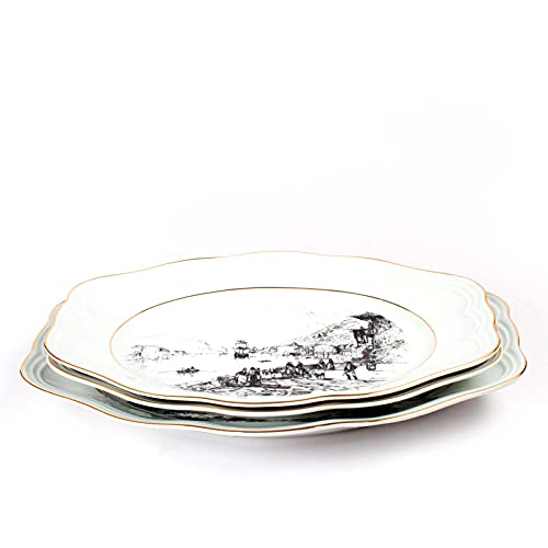 3 Fuentes de servir - Vajilla BIDASOA - Porcelana blanca con filo de oro y paisajes pesqueros   Diseño clásico CARLOS IV
