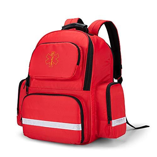 Trunab Notfallrucksack Leer Rot, Erste Hilfe Rucksack Leer Professionell für Medizinische Zubehör, Arzttasche Notfalltasche für Rettungskräfte, Sicherheitsbeauftragte