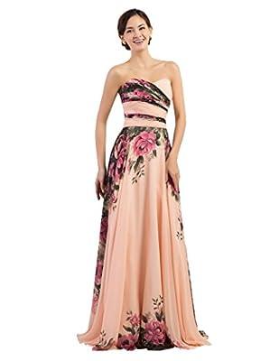 Grace Karin Floral Print Graceful Chiffon Prom Dress For Women (Multi-Colored)