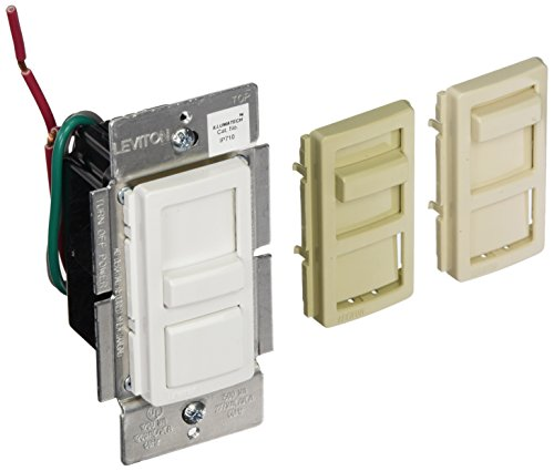 Leviton IP710-LFZ IllumaTech Slide Dimmer for LED 0-10V Power Supplies, 1200VA, 10A LED, 120/277 VAC, White w/ Color Change Kits Included