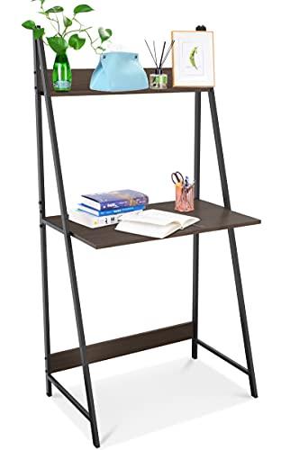 SpringSun Escritorio de 2 niveles con estantería de almacenamiento, mesa de escritura moderna para oficina y hogar (marrón)