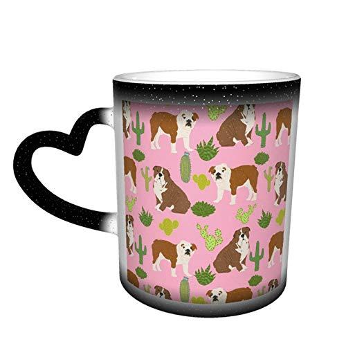 Taza de café con diseño de bulldog inglés, diseño de perro rosa y cactus