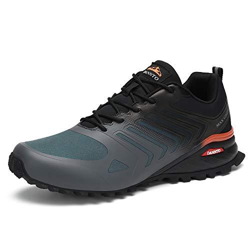 Dannto Zapatillas de Deporte Hombre Zapatos para Correr Aire Libre y Deporte Athletic Cordones Zapatillas De Running Trail Tenis Basket Respirable Gimnasio Sneakers (Gris-B,40