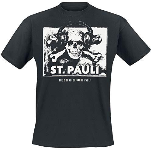 FC St. Pauli Herren T-Shirt Fanartikel The Sound of Sankt Pauli Musik Totenkopf Kopfhörer Schwarz Weiß (XL)