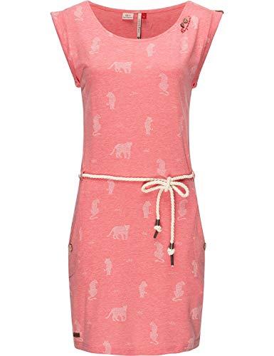 Ragwear Damen Kleid Dress Sommerkleid Strandkleid Jerseykleid Freizeitkleid Tag Tiger Rosa Gr. L